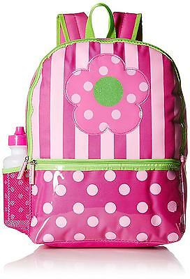 Pink Platinum Girls' Dots and Stripes 16 inch Backpack with Lunch Kit,