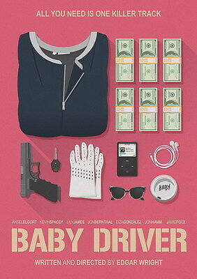 """046 Baby Driver - Ansel Elgort Car Crime Actioon UK Movie 14""""x19"""" Poster"""