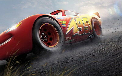 "036 Cars 3 - Pixar Lightning McQueen 2017 Cartoon Movie 38""x24"" Poster"