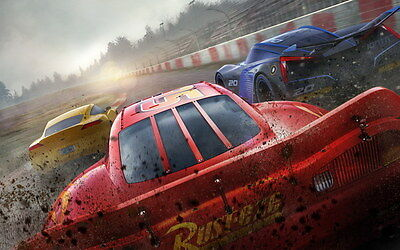 "033 Cars 3 - Pixar Lightning McQueen 2017 Cartoon Movie 38""x24"" Poster"