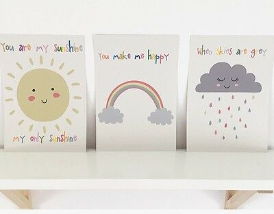 Set Of Three A4 Nursery Prints, Baby, Child's Bedroom Wall Decor
