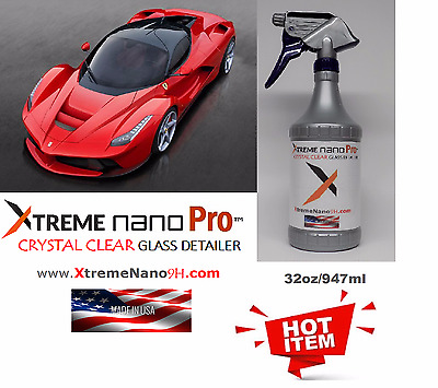 9H CERAMIC - PRO XTREME CRYSTAL CLEAR AUTO GLASS DETAILER   - 32 oz. MADE IN USA