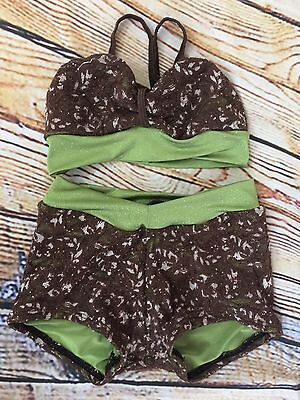 Pumpers Designed Dance Outfit / Set Costume Girls Child Medium Brown Green Lace