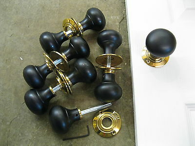 Pair of Victorian Edwardian Reproduction Ebonized Bun Door Knobs & Roses RES5