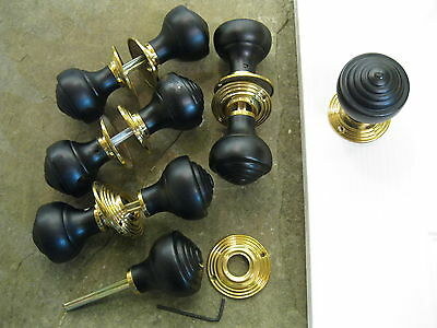 Pair of Victorian Edwardian Reproduction Ebonized Reeded Door Knobs & Roses RES3