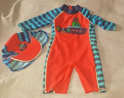 Baby Boys Swimsuit and Hat 18-24 Months