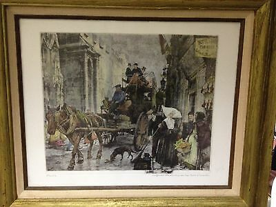 Cool Antique Vintage Engraved Lithograph- French Street Scene- Signed