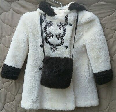 Vintage Girl's Plush White Faux Fur Hooded Peacoat with Matching Hand Warmer