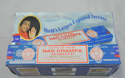 New Fresh Satya Sai Baba Blue Box Nag Champa Incense Sticks Bulk Sale 12x15g