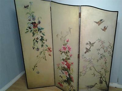 Antique three panel two fold dressing screen hand painted both sides
