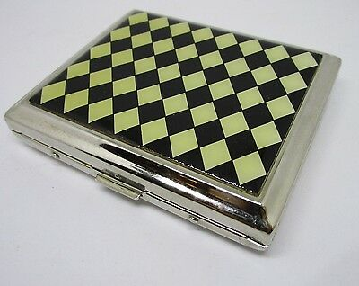 VTG METAL CIGARETTE CASE CHESS  ~ ~ Silver Colour cigerette holder chrome NOS #3