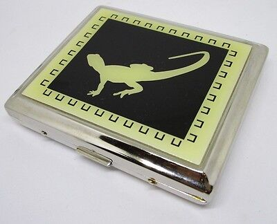 VTG METAL CIGARETTE CASE LIZARD ~ ~ Silver Colour cigerette holder chrome NOS #4