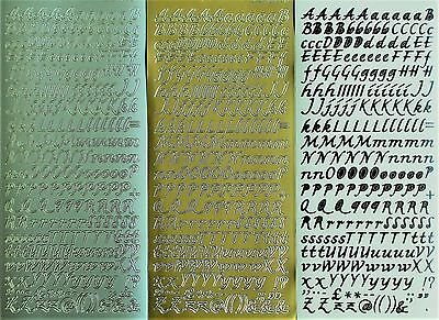 Uppercase & Lowercase Alphabets Script 8mm PEEL OFF STICKERS Alphabet Cardmaking