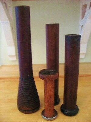 4 ANTIQUE Textile Wooden Spools Spindles Bobbins includes 1 Beehive