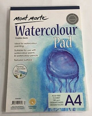Watercolour Pad A4 Mont Marte 15 Sheet 180gsm German Paper Drawing Painting Book