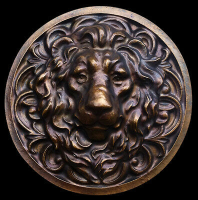Large Roman Facing Lion wall sculpture relief plaque in Bronze Color Finish