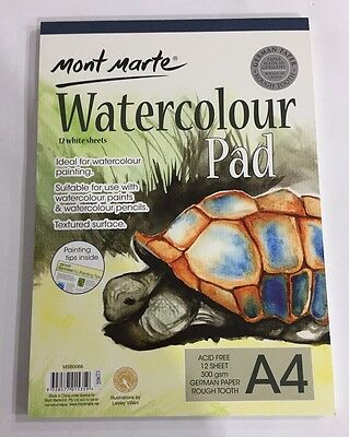 Watercolour Pad A4 Mont Marte 12 Sheet 300gsm German Paper Drawing Painting Book