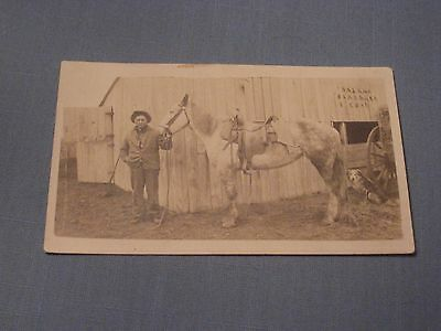 Vtg Postcard Photograph of Native American with Horse & Dog