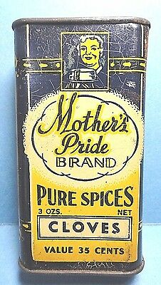 "Vintage ""MOTHER'S PRIDE"" Brand Cloves Spice Tin  FREE SHIPPING"