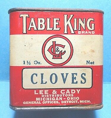 "Vintage ""TABLE KING"" Paper Label Cloves Spice Tin   FREE SHIPPING"