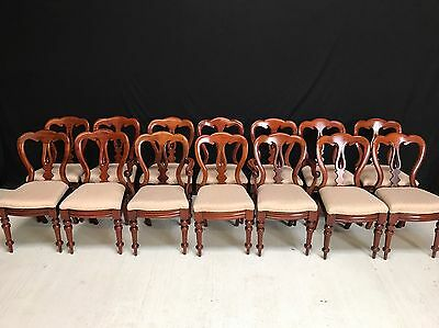 Very Rare Of Set 14 Antique Victorian Balloon Back Chairs Pro French Polished.