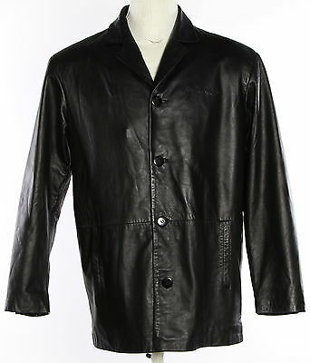Men's BURKS BAY Black Leather Blazer Coat Size Medium
