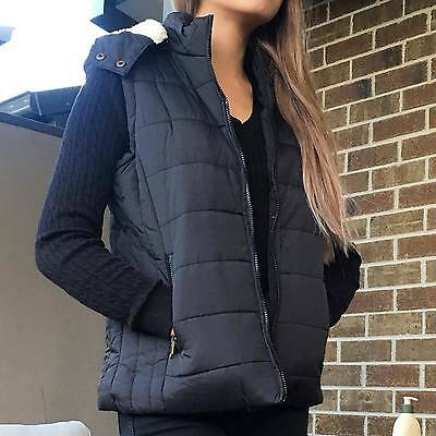 Womens Ladies Faux Sherpa Fur Lined Quilted Hood Hooded Vest Waistcoat Outerwear