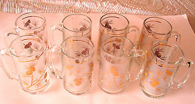 Set Of 8 - 1960's Libbey's Frosted Beer Mugs - Gold Pine Cone Design