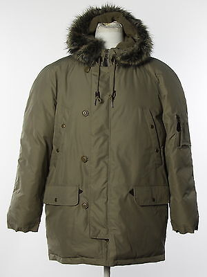 Men's J. CREW Brown Long Sleeve Fur Hooded Parka Coat Size Large