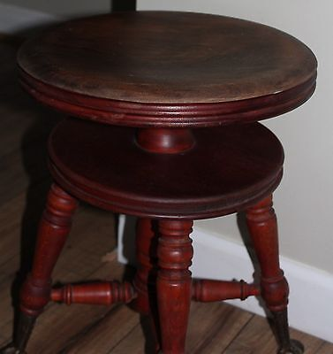 Antique Wood Piano Stool:  GLass Claw Foot  Walnut