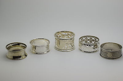 5 Assorted Sterling Silver Napkin Rings 65 Grams