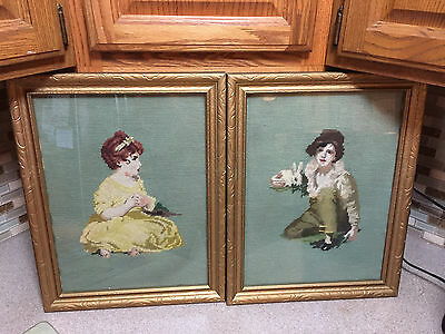 Antique pair of little Boy & Girl Needlepoint Pettipoint Framed Pictures Signed