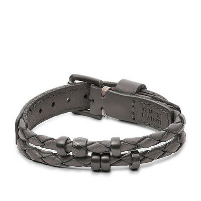 New Fossil Mens Vintage Leather Casual Grey Braided Bracelet JF02476793