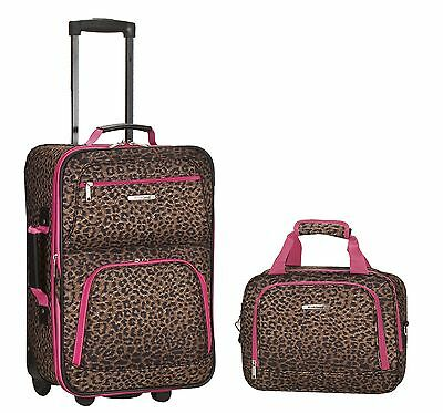 Rolling Luggage Set Pink Leopard 2 Piece Medium Suitcase Expandable Carry Travel