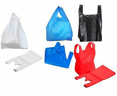 UK New Plastic Vest Carrier Bags Shop Stall Home Black Blue White Red Recycled