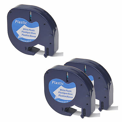 3PK Black on White Plastic Label Tape 1/2'' Fit for DYMO Letra Tag LT 91331 QX50