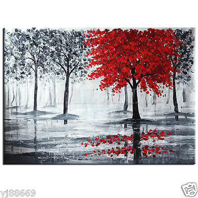 RANYA Hand Painted Oil Painting on Canvas Red Tree Black Forest Wall Art Decor