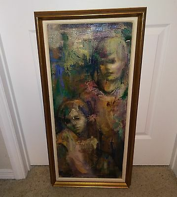 Vintage Original Oil Painting on Canvas of Two Figures Artist Signed Muller