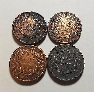 Lot of 4 Chile 1/2 Medio Centavo 1835