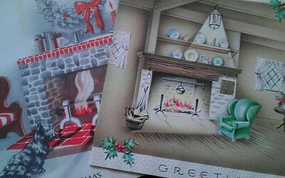 FIREPLACES in Living Room 2 Vtg CHRISTMAS Greeting CARDS Fronts ONLY