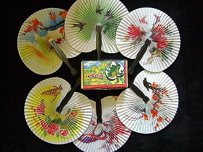 12 Paper Fans Chinese Style Folding Assorted Print Party Fancy Dress Decor