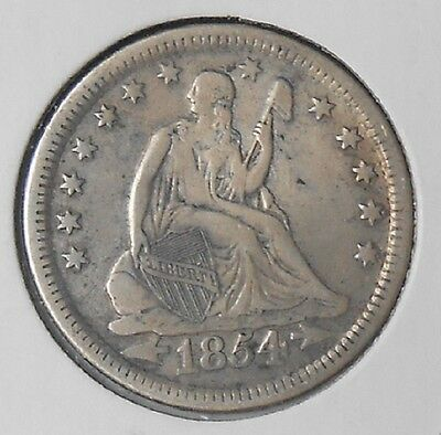 Very nice Circulated 1854 Seated Liberty 90% silver Quarter dollar with arrows