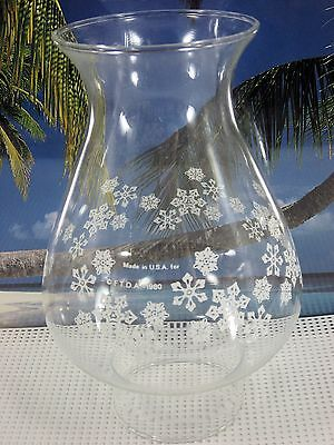 Chimney Made In Usa Pyrex Brand Snow Flakes Clear Glass For Kerosene Oil Lamps