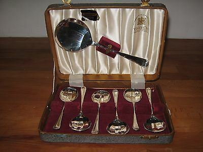 Boxed Set Of 6 Epns Dessert Spoons & Serving Spoon