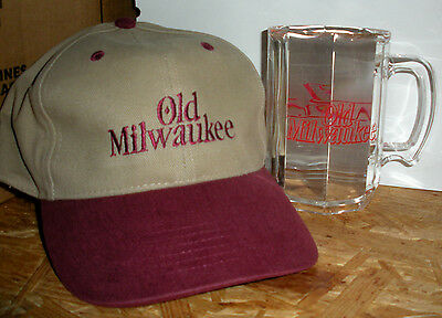 Old Milwaukee Beer Baseball Hat Acrylic Mug Tan Red Embroidered Cap One Size New