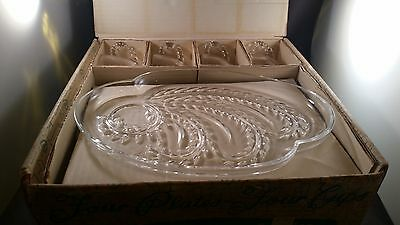 Vintage Federal Glass Hospitality 7pc. NEW Luncheon/Snack Set Homestead Pattern
