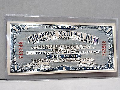 About Unc 1941 Philippines 1 Peso Emergency Cirulating Note (10095-Pmb-Ms)