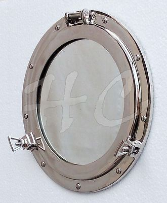 "Silver Ship Porthole Mirror 12""Nautical Maritime Brass Porthole Window Boat Wall"