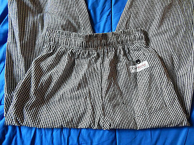 CHEF WORKS Restaurant Cooks Checkered Elastic Waist Pants Unisex Size XS
