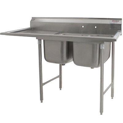 """Eagle Group 414-24-2-24 Two 24"""" Bowl Sink with 24"""" Drainboard"""